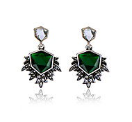 Hoop Earrings Crystal Euramerican Personalized Chrome Geometric Dark Green Jewelry For Housewarming Thank You Business 1 pair