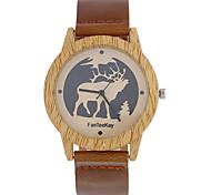 abordables -Hombre Cuarzo Reloj de Pulsera Chino / de madera Piel Banda Casual Reloj creativo único Madera Cool Negro Marrón Caqui