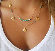 cheap -Women's Jewelry Shape Personalized Basic Fashion Double-layer Pendant Necklace Turquoise Gold Plated Turquoise Alloy Pendant Necklace