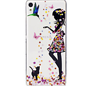cheap -Case For Sony Xperia M2 Sony Sony Xperia XA IMD Transparent Pattern Back Cover Sexy Lady Soft TPU for Sony Xperia XA Sony Xperia M2 Sony