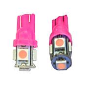 cheap -10Pcs T10 5*5050 SMD LED Car Light Bulb Pink Light  DC12V
