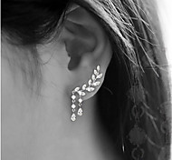 cheap -Women's Tassel Leaf Cubic Zirconia Stud Earrings - Simple Tassel Gold Silver Leaf Earrings For Party Gift Daily