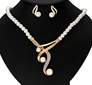 cheap -Women's Imitation Pearl Crown Jewelry Set 1 Necklace / 1 Pair of Earrings - Ribbons Crown Gold Jewelry Set For Wedding / Party /