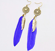 cheap -New Bohemian Style Vintage Drop Long Earrings Fashion Feather Dangle Earrings For Women Hollow Round Rhinestone Metal Leaves Earrings Jewelry