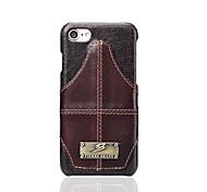 Marque fierre shann pour porte-cartes étui porte-dos étui couleur solide cuir véritable dur pour Apple iphone 7 plus iphone 7