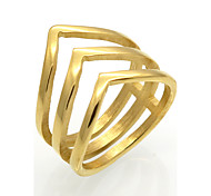 baratos -Homens Mulheres Anéis Grossos Original Geométrico Moda Vintage Personalizado Rock Euramerican Dupla camada Aço Titânio 18K ouro Quadrado