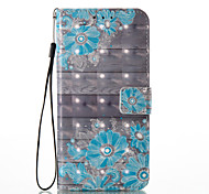 For Huawei P8 Lite (2017) P9 Lite Case Cover Blue Flower Pattern Glare 3D Dimensional Glossy PU Material Stent Card Holster
