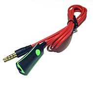 Недорогие -Кабель для наушников с микрофонным пультом дистанционного управления 3,5 мм для мужчин и мужчин стерео аудио шнуры 120 см красный