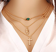 cheap -Women's Pendant Necklace / Chain Necklace  -  Turquoise Cross, Leaf, Star Unique Design, Dangling Style, Bohemian Gold Necklace For Christmas Gifts, Party, Special Occasion