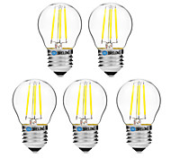 4W E27 LED Filament Bulbs G45 4 COB 300 lm Warm White White 2700-3500   6000-6500 K Dimmable V 5pcs