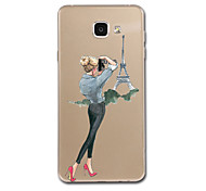 For Samsung Galaxy A7(2017) A8 Case Cover Transparent Pattern Back Cover Case Sexy Lady Eiffel Tower Soft TPU for Samsung Galaxy A3(2017) A5(2017)