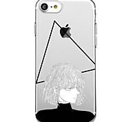 Для iphone 7 плюс 7 чехол для крышки экологически чистый прозрачный узор задняя крышка чехол геометрический узор сексуальная леди мягкая