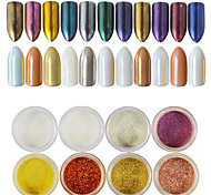 Недорогие -12pcs/set Акриловый порошок Гель для ногтей Порошок блеска Зеркальный эффект Блеск и сияние Дизайн ногтей