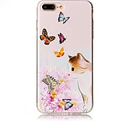 cheap -For iPhone 7 Plus 7 Embossed Cat Butterfly Pattern High Quality TPU Soft Phone Case 6 Plus 6S 6 SE 5