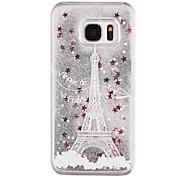 For Samsung Galaxy S8 Plus S8 Phone Case Eiffel Tower Pattern Flowing Quicksand Liquid Glitter Plastic PC Materia S7 edge S7