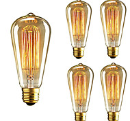 5pcs ST64 E27 40W Incandescent Vintage Edison Light Bulb For Restaurant Club Coffee Bars Light AC110-130V