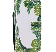 For Samsung Galaxy S8 S8 Plus Case Cover Green Leaves Pattern Painted PU Skin Material Card Stent Wallet Phone Case S7 S7 Edge