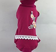 Недорогие -Кошка Собака Футболка Комбинезоны Пижамы Брюки Одежда для собак На каждый день Цветочные / ботанический Розовый Зеленый