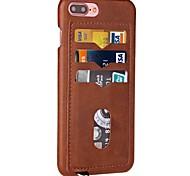 Недорогие -Назначение iPhone X iPhone 8 Чехлы панели Бумажник для карт Задняя крышка Кейс для Сплошной цвет Твердый Искусственная кожа для Apple