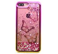 Недорогие -Кейс для Назначение Apple iPhone 8 iPhone 8 Plus Покрытие Движущаяся жидкость С узором Кейс на заднюю панель Бабочка Сияние и блеск Мягкий