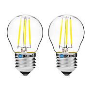 Недорогие -BRELONG® 2pcs 4 Вт. 300 lm E27 LED лампы накаливания G45 4 светодиоды COB Диммируемая Тёплый белый Белый UV (лампа черного света) AC