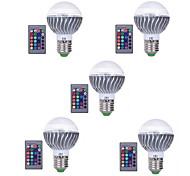 3W E27 LED Smart Bulbs A60(A19) 1 leds Integrate LED Dimmable Remote-Controlled Decorative RGB 300lm 3000-6500K AC 85-265V