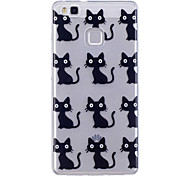 Недорогие -Чехол для huawei p10 lite p10 phone case tpu материал imd процесс черный шаблон для кошки hd телефон чехол чехол 8 p9 lite p8 lite y6 ii