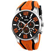 SKMEI Men's Wrist watch Quartz Silicone Band Black Blue Red Orange Green