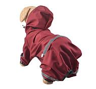 Dog Rain Coat Dog Clothes Waterproof Solid Jade Ruby Yellow