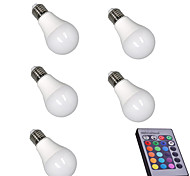 5W E27 LED Smart Bulbs A60(A19) 15 leds SMD 5050 Sensor Infrared Sensor Dimmable Remote-Controlled Decorative RGB 400lm 3000-6500K AC