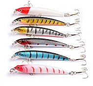6Pcs/lot Minnow Lures Hard Bait Lure Fish Hook Crankbait 7.5cm 6# Hook Fishing Lures Artificial Fishing Tackle