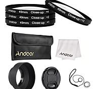 Andoer 49 milímetros close-up conjunto de filtro de lente macro com acessórios de lente bolsa de lente tampa de lente desmontável tampa da