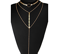 Women's Choker Necklaces Circle Alloy Unique Design Euramerican Jewelry For Wedding Party Daily Casual