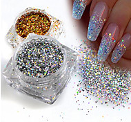 cheap -1g/Bottle Fashion Gorgeous Gold/Silver DIY Sparkling Paillette Mini Hexagon Shape Laser Shining Nail Art Glitter 3D Tips Nail Manicure Sequins 025T