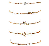 Women's Chain Bracelet Bangles Fashion Hip-Hop Rock Stretch Metal Alloy Gold Plated Geometric Irregular Jewelry ForDate Street