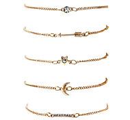 Mulheres Pulseiras em Correntes e Ligações Bracelete Moda Hip-Hop Rock Elástico Liga de Metal Chapeado Dourado Forma Geométrica Jóias Para