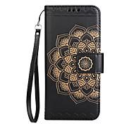 cheap -Case For LG K8 LG LG K10 Card Holder Wallet Flip Pattern Embossed Full Body Cases Mandala Flower Hard PU Leather for LG K10 (2017) LG K8