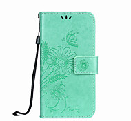 For Samsung Galaxy S5 Mini S4 Mini Case Cover Card Holder Wallet with Stand Flip Embossed Full Body Case Butterfly Flower Hard PU Leather