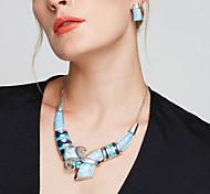 Жен. Набор украшений Серьги-гвоздики Длинные ожерелья Мода европейский Массивные украшения бижутерия Серебрянное покрытие Бижутерия