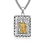 Square titanium steel elephant head Buddha body Thai version of men's pendant with golden elephant head pendant