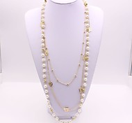 Women's Layered Necklaces Imitation Diamond Imitation Pearl Geometric Alloy Fashion Classic Jewelry For Party Gift Daily Evening Party