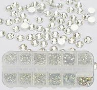 1 Box Nail Art DIY Glitter Rhinestones Crystal AB&Clear Color Silver Flat Bottom Mix Sizes DIY Crystal Glass 3D Rhinestones Nail  Jewelry Decoration