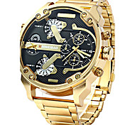 cheap -Men's Military Watch Chinese Calendar / date / day / Creative / Large Dial Stainless Steel Band Charm / Luxury / Casual Black / Gold