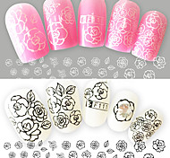 2pcs/Set Fashion Sweet Style Nail Art Flower Sticker Charming Pattern 3D Decals Black White Design Nail Art DIY Beauty Flower Decoration F111
