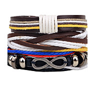 Men's Women's Leather Bracelet Wrap Bracelet Handmade Fashion Adjustable Personalized DIY Leather Alloy Irregular Twist Circle Jewelry For