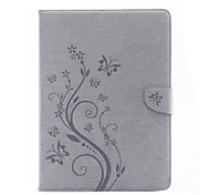 cheap -Case For Apple iPad 4/3/2 iPad Air 2 iPad Air Card Holder Wallet with Stand Flip Pattern Embossed Full Body Cases Butterfly Flower Hard