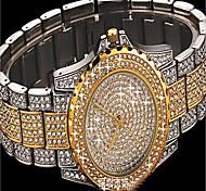 Mujer Reloj de Moda Reloj Pulsera Simulado Diamante Reloj Reloj de Cristal Pavé Japonés Cuarzo Colorido La imitación de diamante Acero