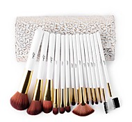 MSQ 15 stcke Make-Up Pinsel Set Kunsthaar Make-Up Pinsel Schnheit Kosmetik Pinsel Set Mit Zarten Weien Muster PU fall