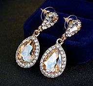 Women's Champagne Gold Drop Earrings Rhinestone Unique Design Dangling Style Classic Alloy Jewelry ForWedding Party Special Occasion Anniversary