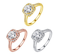 Women's Band Rings Cubic Zirconia Fashion Adjustable Zircon Square Jewelry For Party Daily